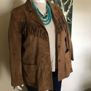 Vintage Denim & Co Suede Fringe Jacket 2X